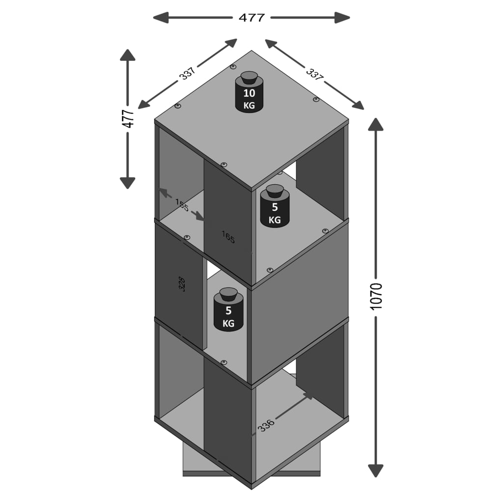 FMD Roterbart dokumentskåp öppet 34x34x108 cm vit