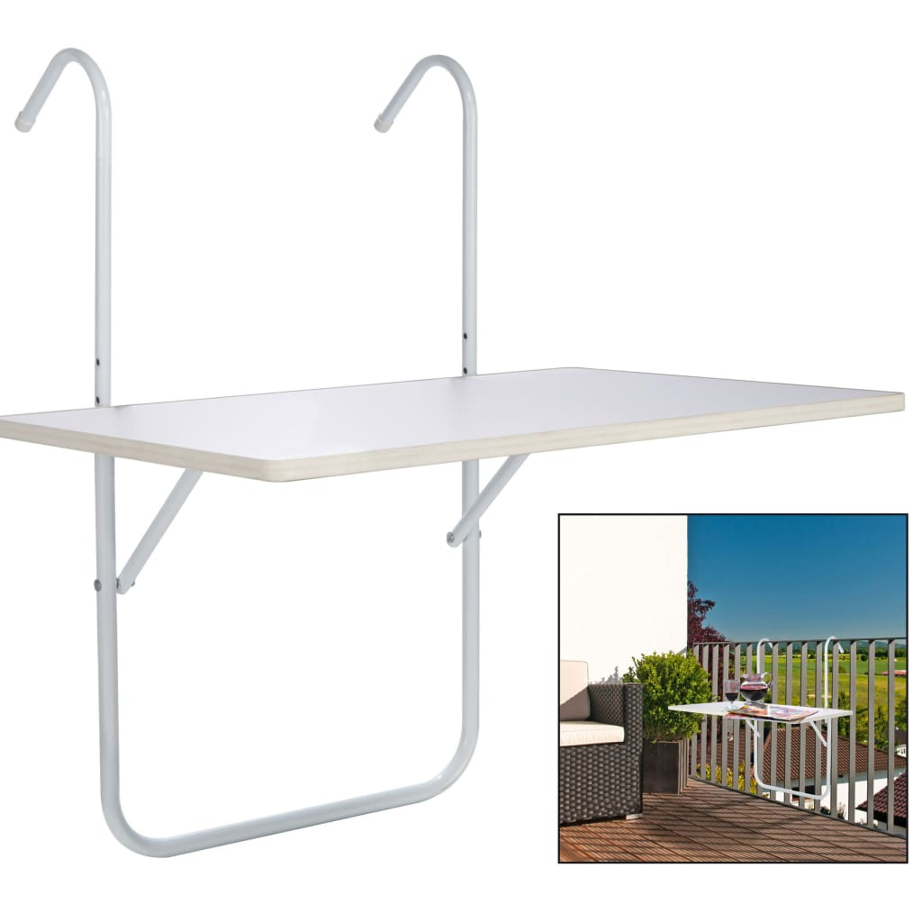 HI Hopfällbart balkongbord vit 60x40x1,2cm