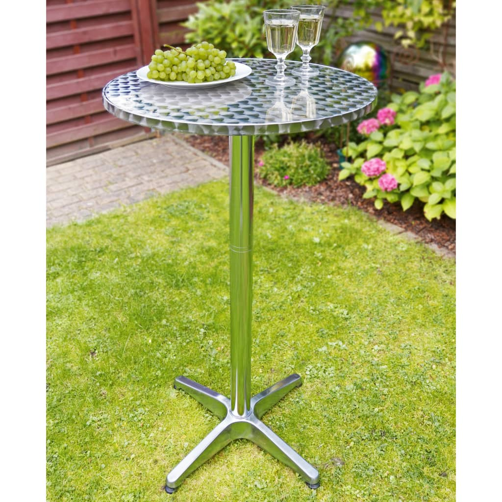 HI Hopfällbart cafébord/barbord i aluminium runt 60x60x(58-115) cm