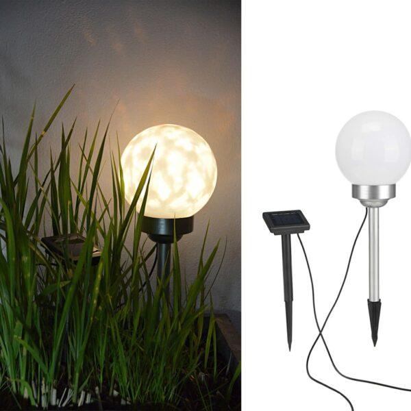 HI Soldriven LED roterande trädgårdsklot 15 cm