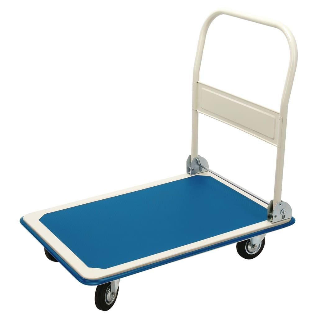 Draper Tools Plattformsvagn hopfällbart handtag blå & vit 90x60x85 cm