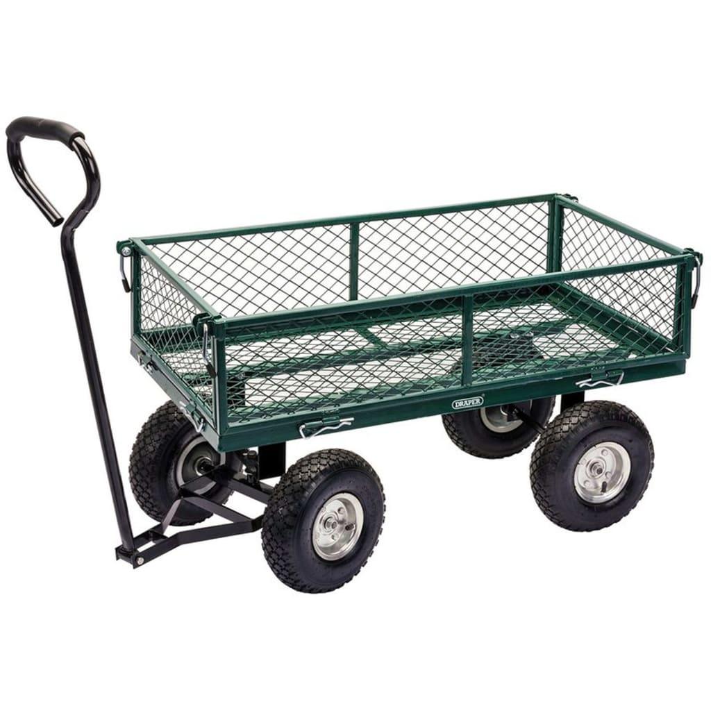 Draper Tools Trädgårdsvagn stål 86,5x46,5x21 cm grön och svart