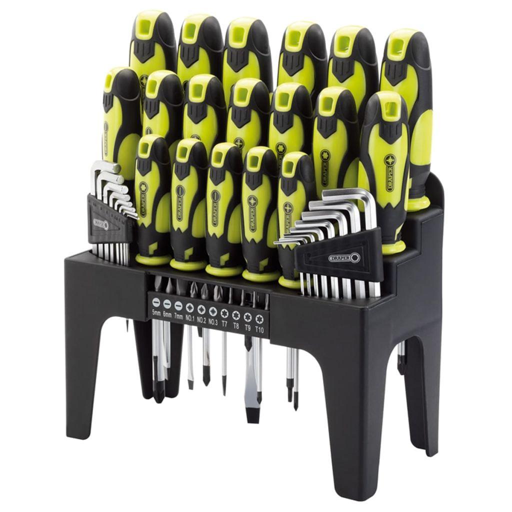 Draper Tools Sats med skruvmejslar, insexnycklar och bits grön 78619