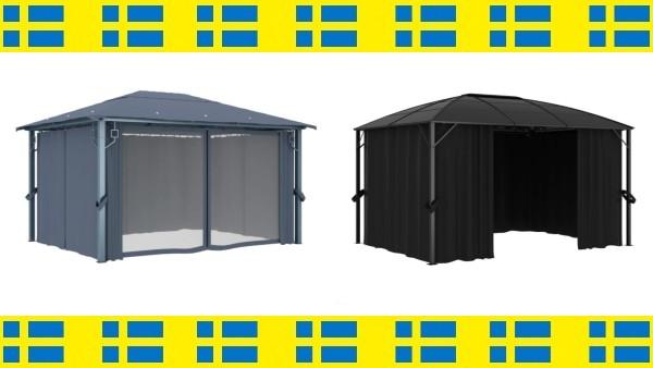 7 superfina och prisvärda paviljonger med draperier fraktfritt inom hela Sverige