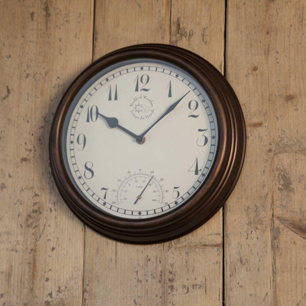 Esschert Design Stationsklocka med termometer 30,5 cm TF007