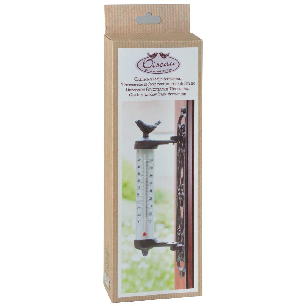 Esschert Design Väggtermometer gjutjärn brun BR20