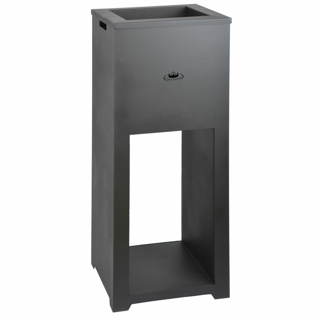 Esschert Design Eldfat med vedförvaring stål FF278