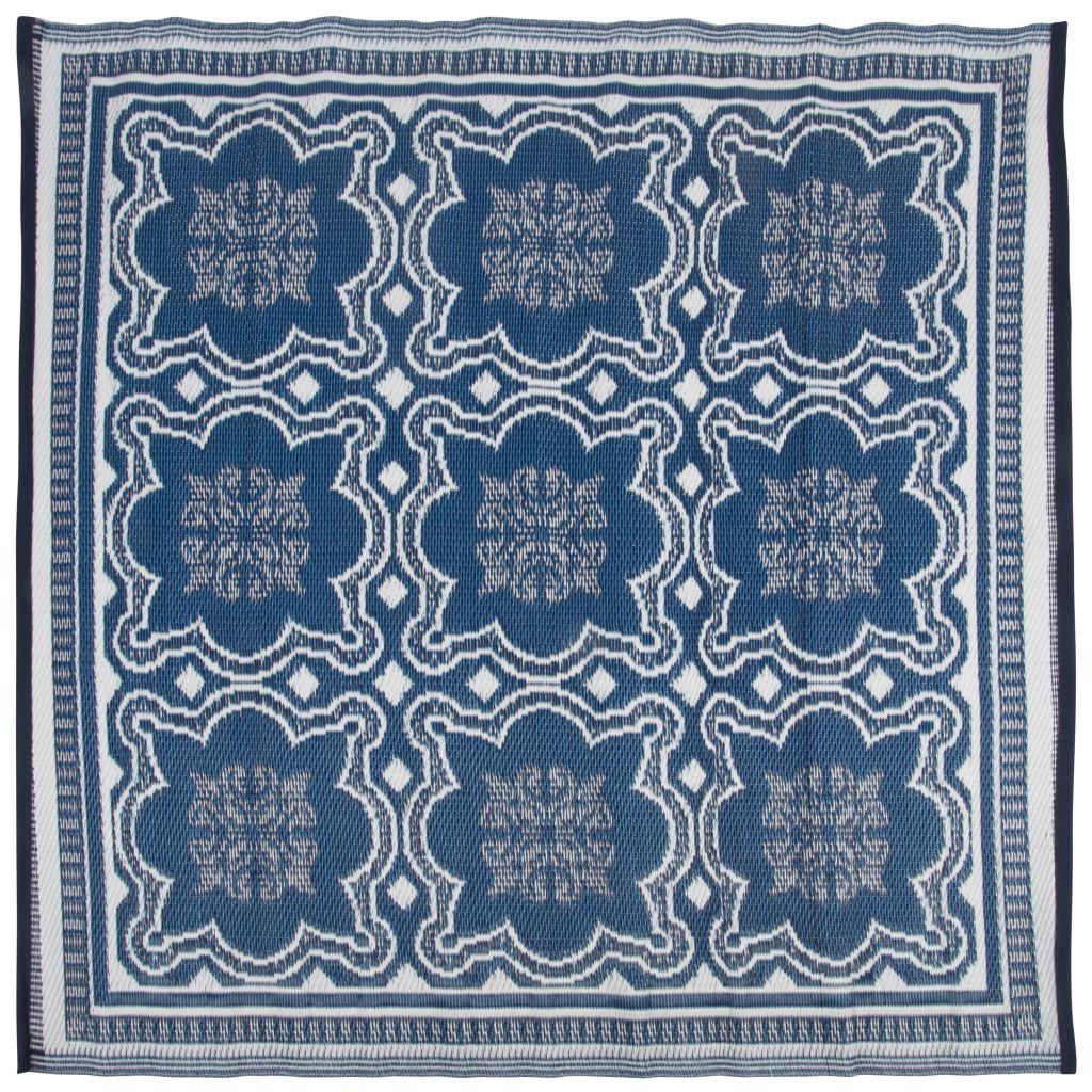 Esschert Design Utomhusmatta 151,5 cm blå och vit OC23