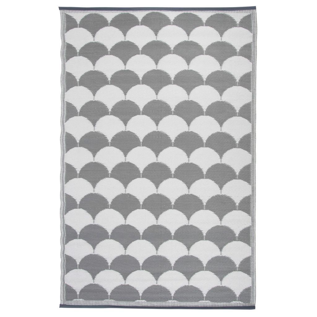 Esschert Design Utomhusmatta 180x121 cm grå och vit OC24
