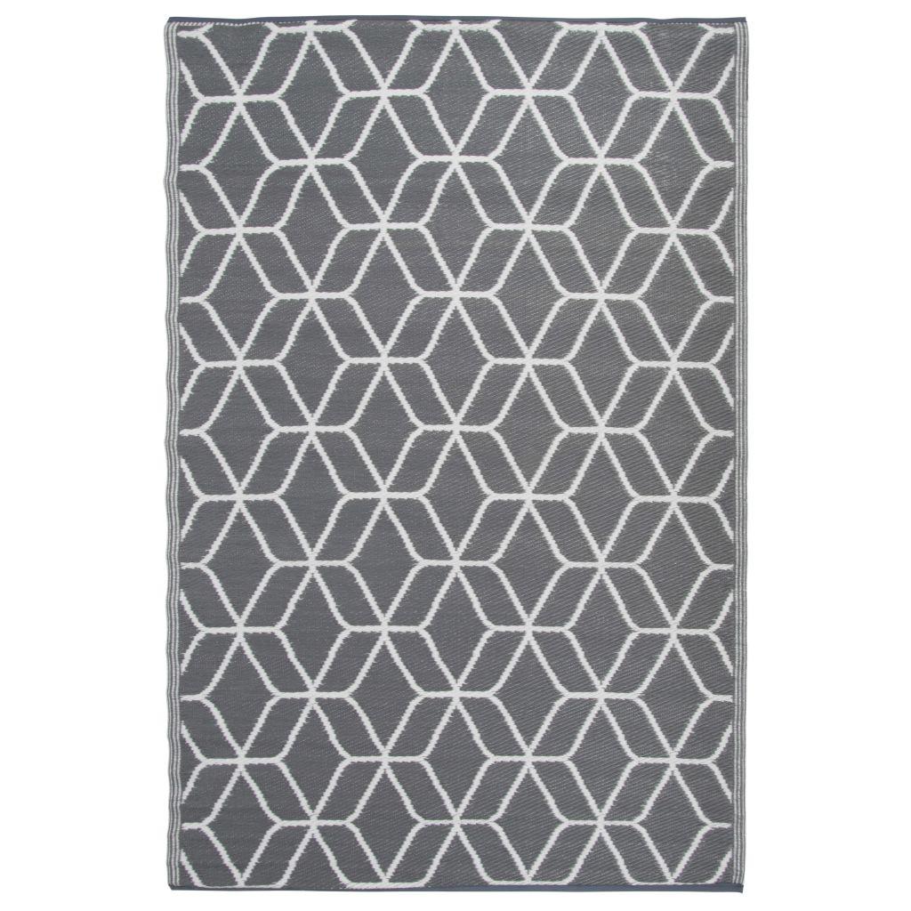 Esschert Design Utomhusmatta Graphics 180x121 cm grå och vit OC25
