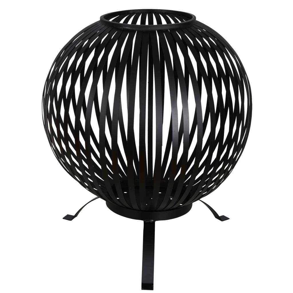 Esschert Design Eldkorg ränder svart kolstål FF400