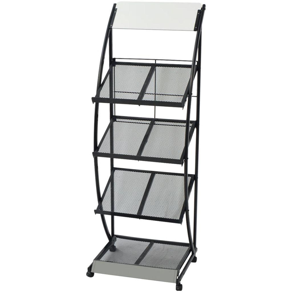 Tidningsställ 47x40x134 cm svart och vit A4