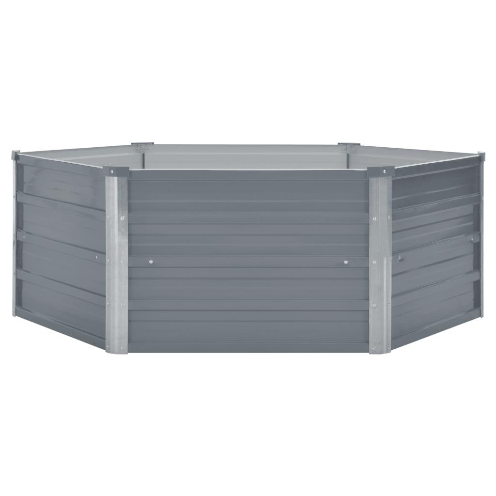 Odlingslåda 129x129x46 cm galvaniserat stål grå