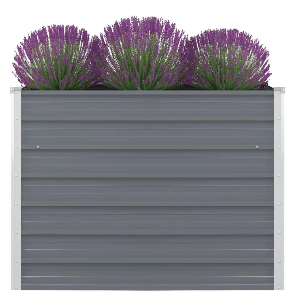 Odlingslåda 100x100x77 cm galvaniserad stål grå