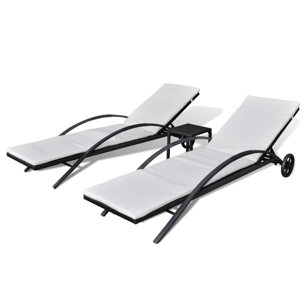 Solsängar med bord konstrotting svart