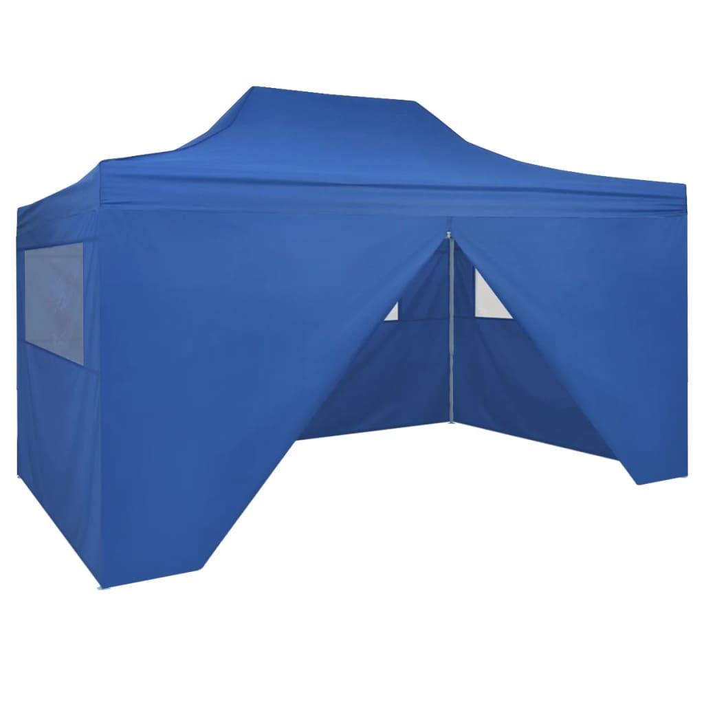 Pop-Up hopfällbart partytält med 4 sidoväggar 3x4,5 m blå