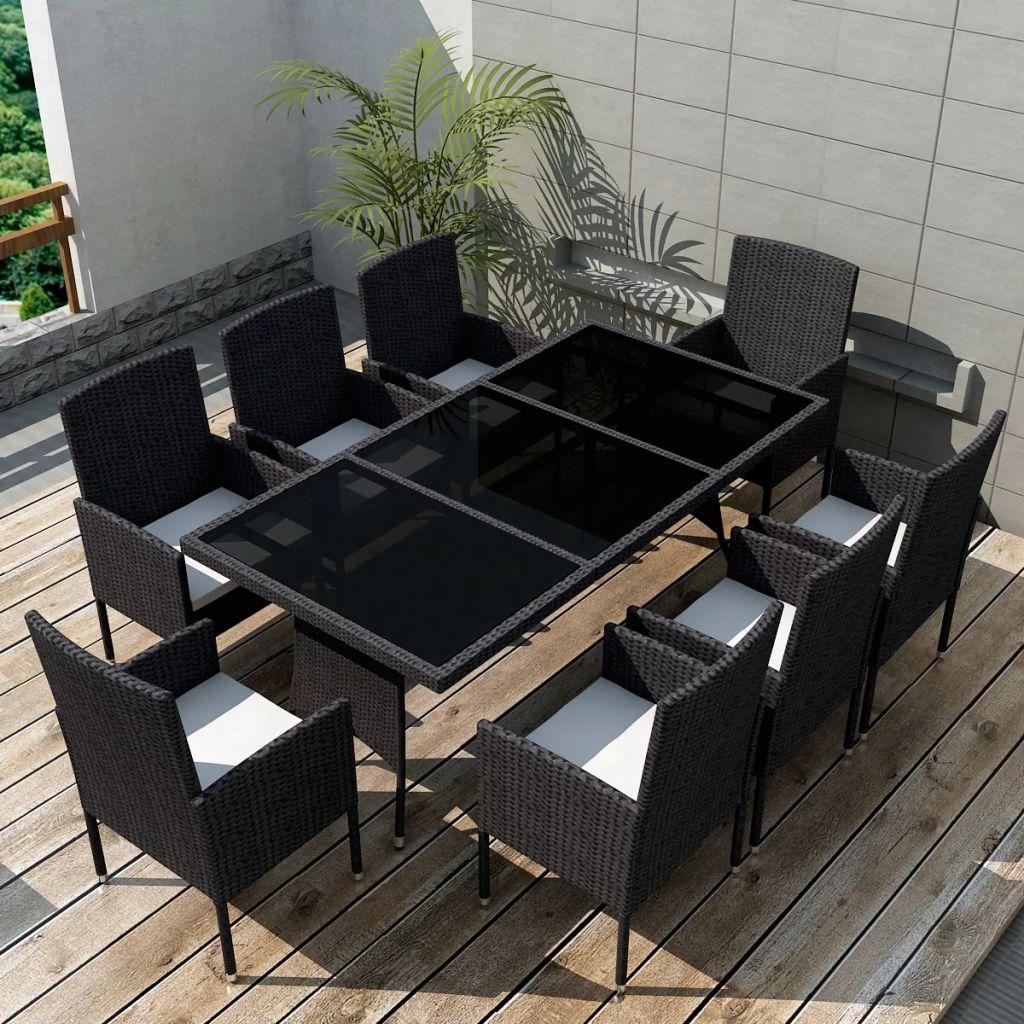 Matgrupp för trädgården med dynor 9 delar konstrotting svart