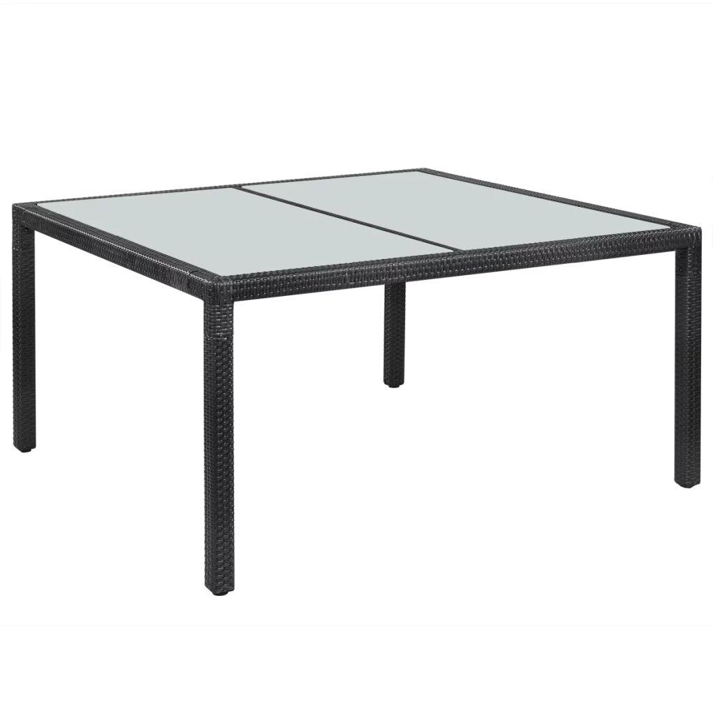 Trädgårdsbord svart 150x90x75 cm konstrotting
