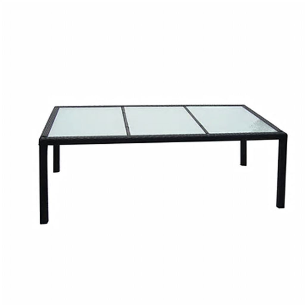 Trädgårdsbord svart 190x90x75 cm konstrotting