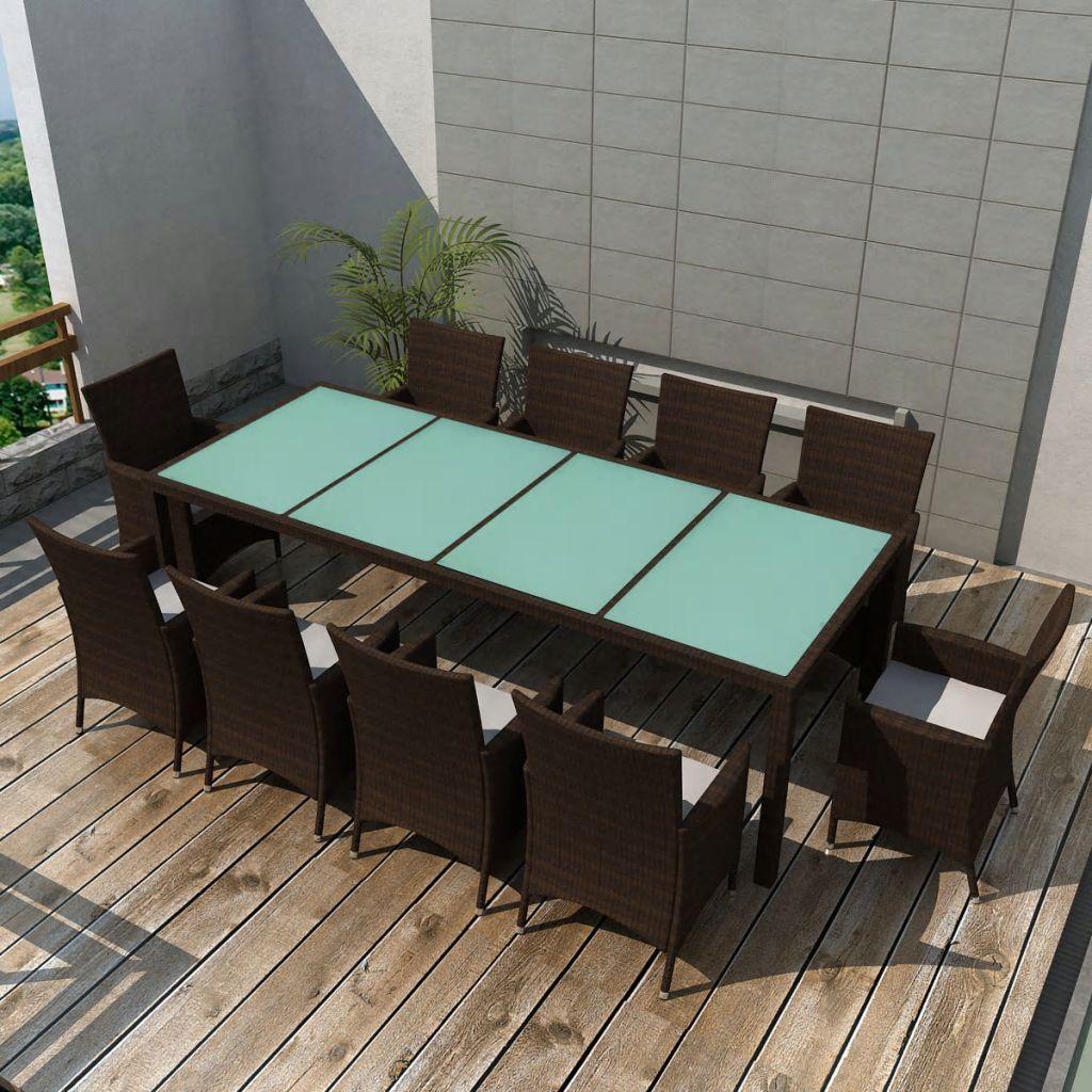 Matgrupp för trädgården med dynor 11 delar konstrotting brun