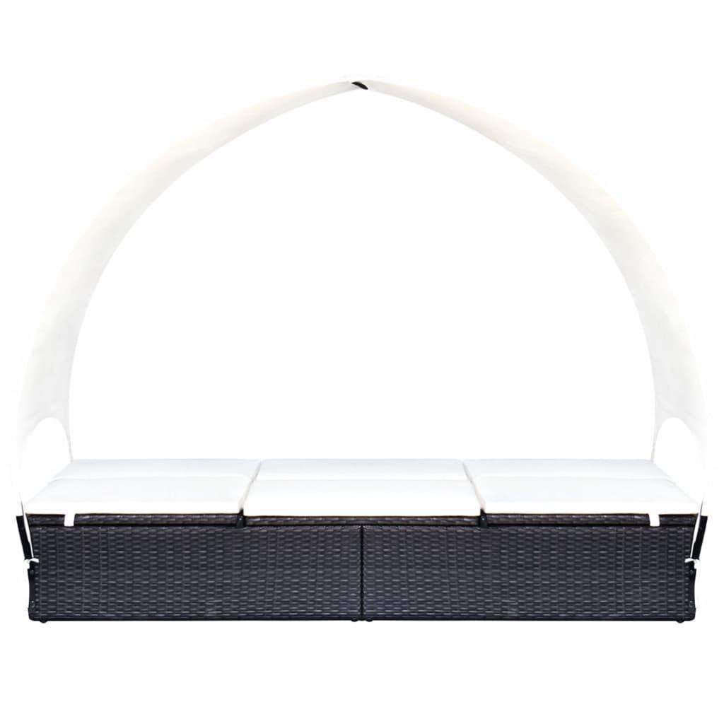 Dubbel solsäng med tak konstrotting svart