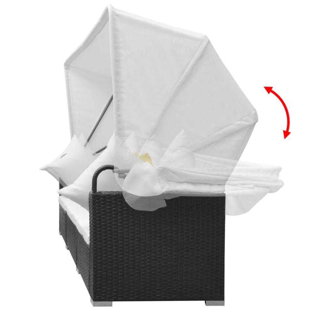 Loungegrupp med soltak 7 delar konstrotting svart