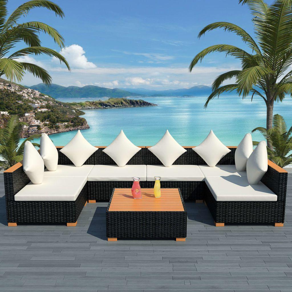 Loungegrupp för trädgården med dynor 7 delar konstrotting svart