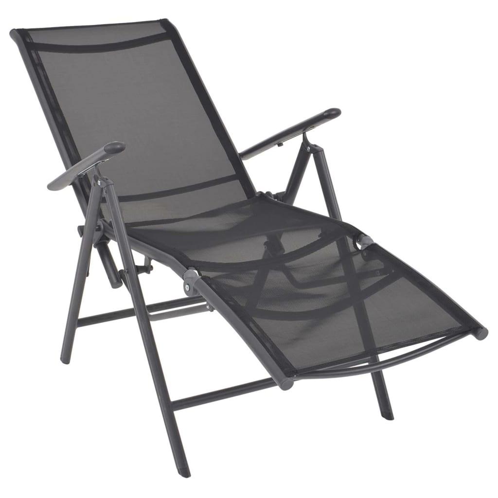 Justerbar solstol aluminium och textilene svart