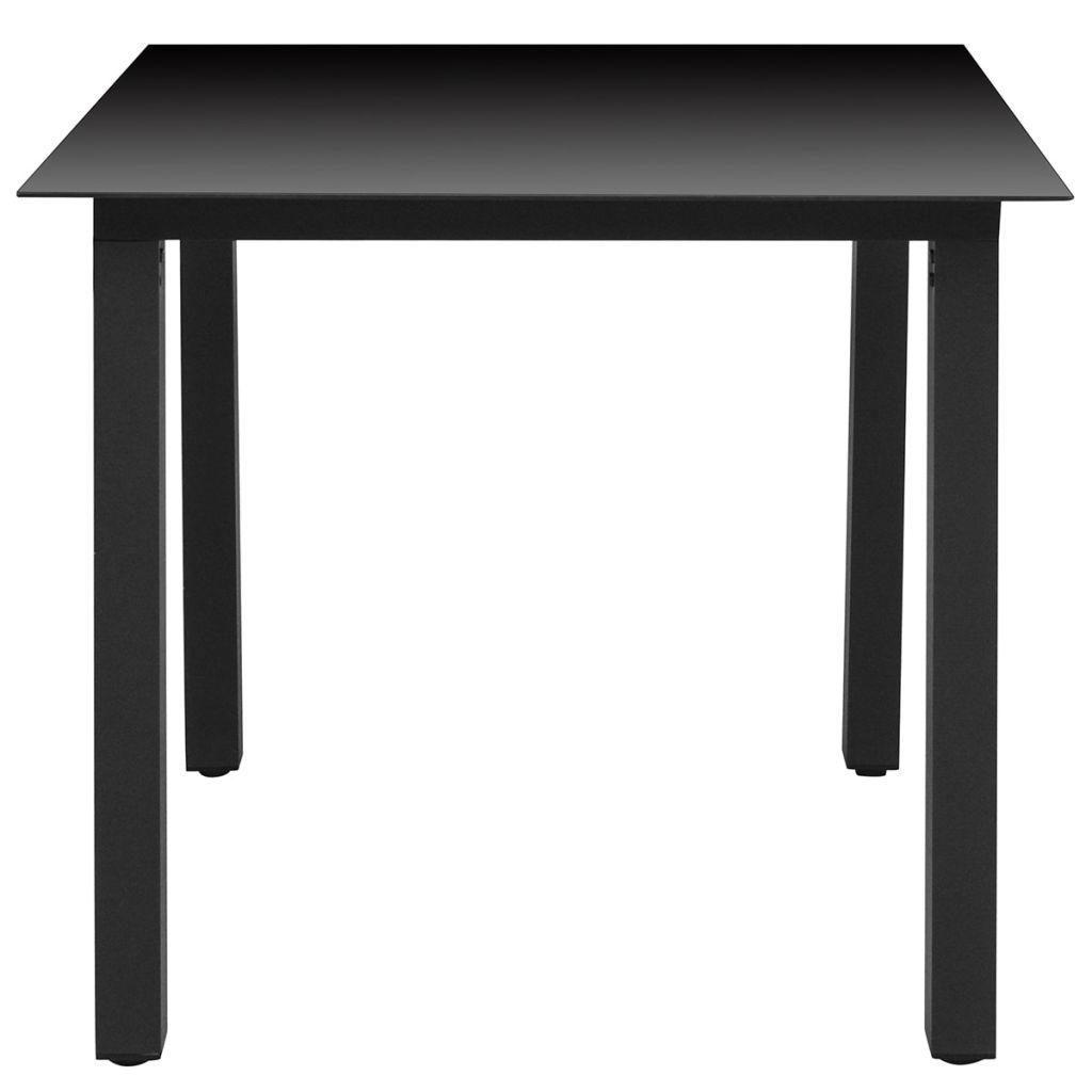Trädgårdsbord svart 80x80x74 cm aluminium och glas