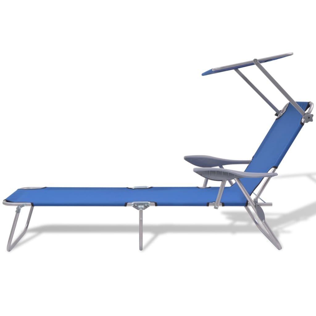 Solsäng med tak stål blå