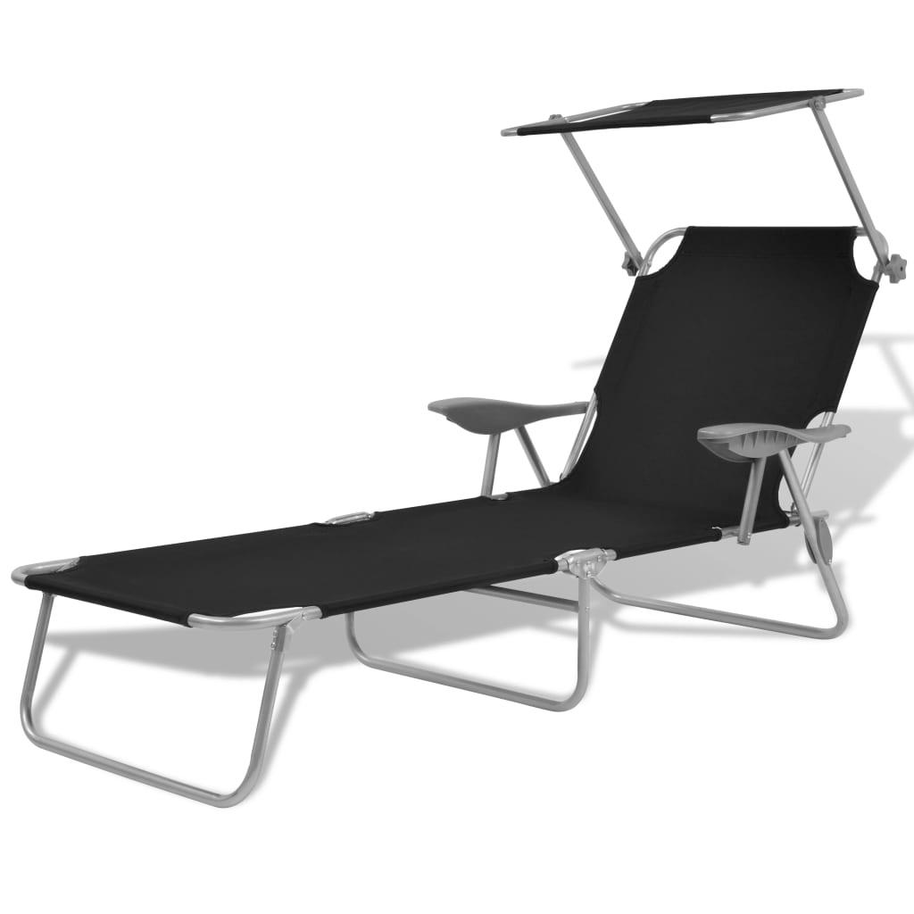 Solsäng med tak stål svart
