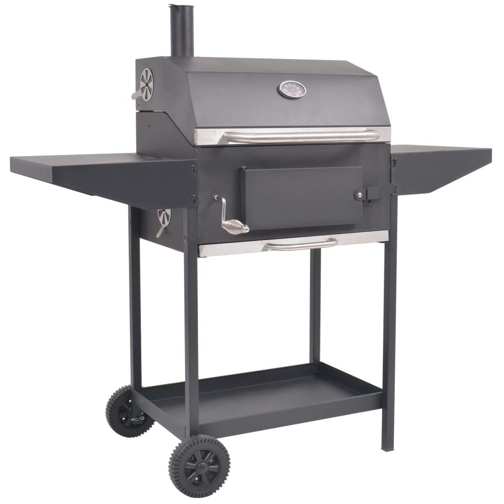 Rökgrill BBQ kol med nedre hylla svart