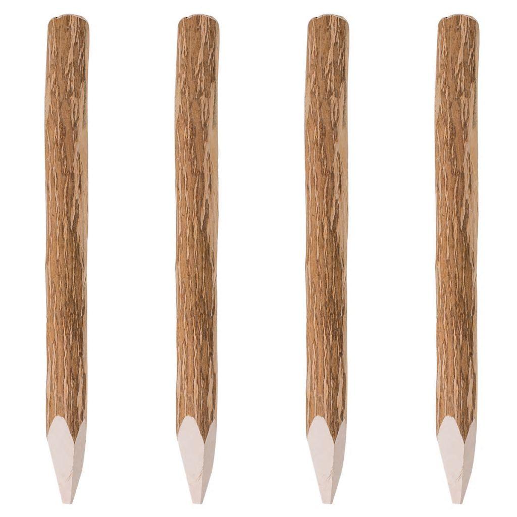 Staketstolpar spetsiga 4 st hasselträ 90 cm