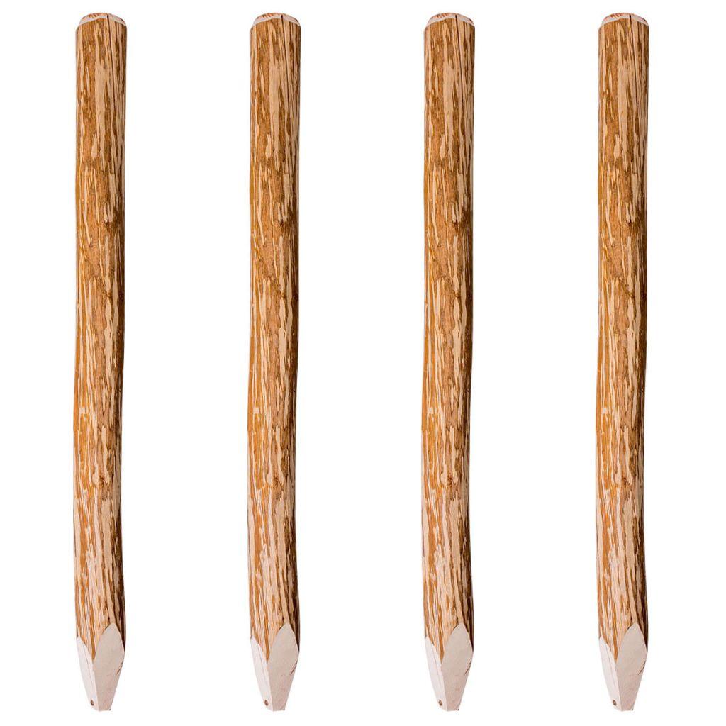 Staketstolpar spetsiga 4 st hasselträ 120 cm