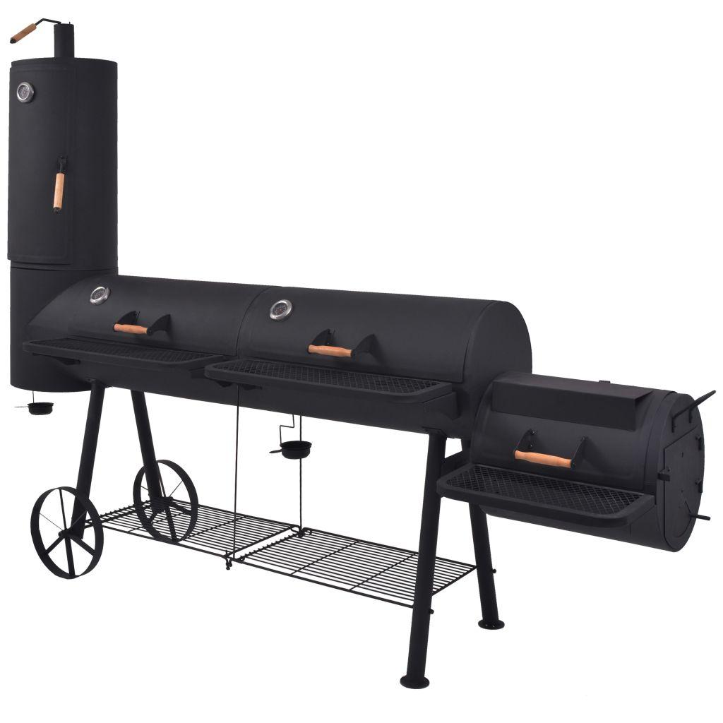 Rökgrill BBQ med nedre hylla svart tung XXXL