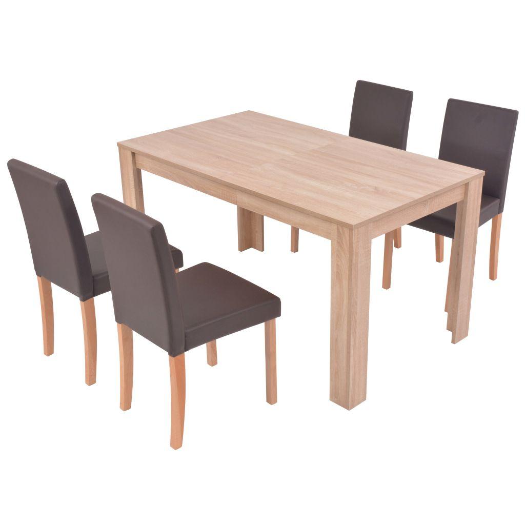 vidaXL Matbord och matstolar 5 delar konstläder ek brun