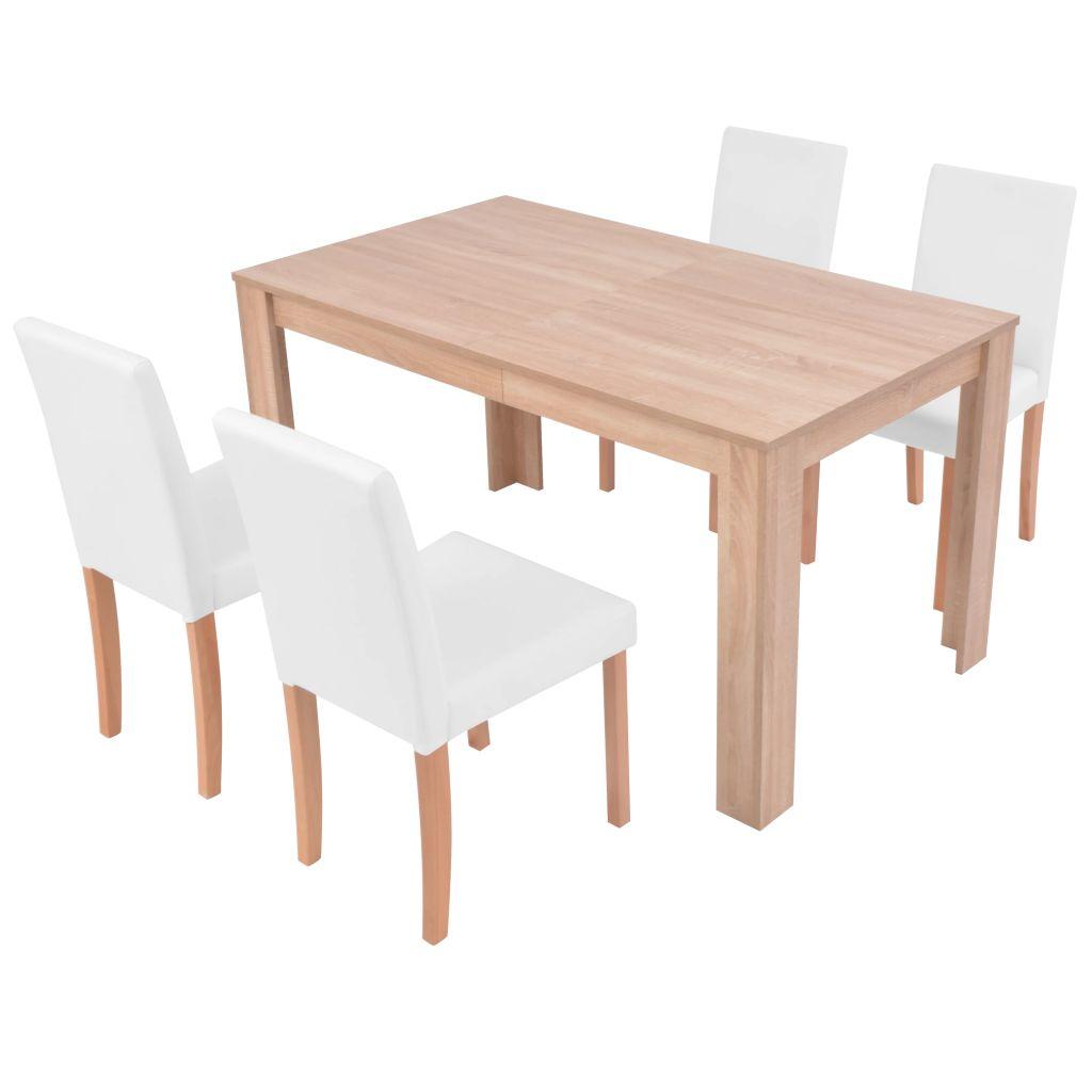 vidaXL Matbord och matstolar 5 delar konstläder ek gräddvit