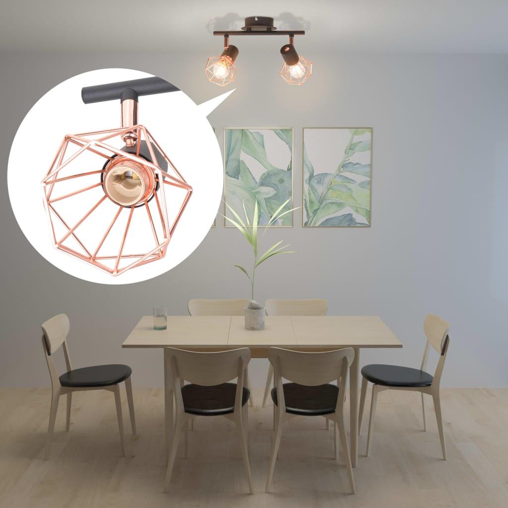 vidaXL Taklampa med 2 spotlights E14 svart och koppar
