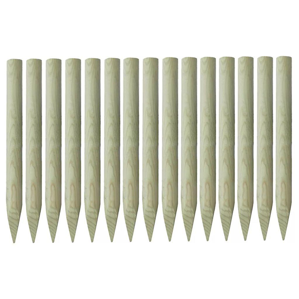 Spetsiga staketstolpar 15 st impregnerad furu 4x100 cm