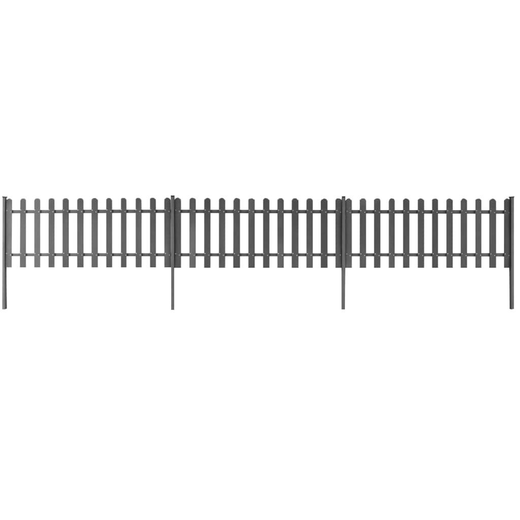 Staket med stolpar 3 st WPC 600x60 cm