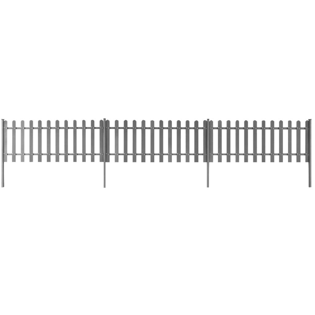 Staket med stolpar 3 st WPC 600x80 cm