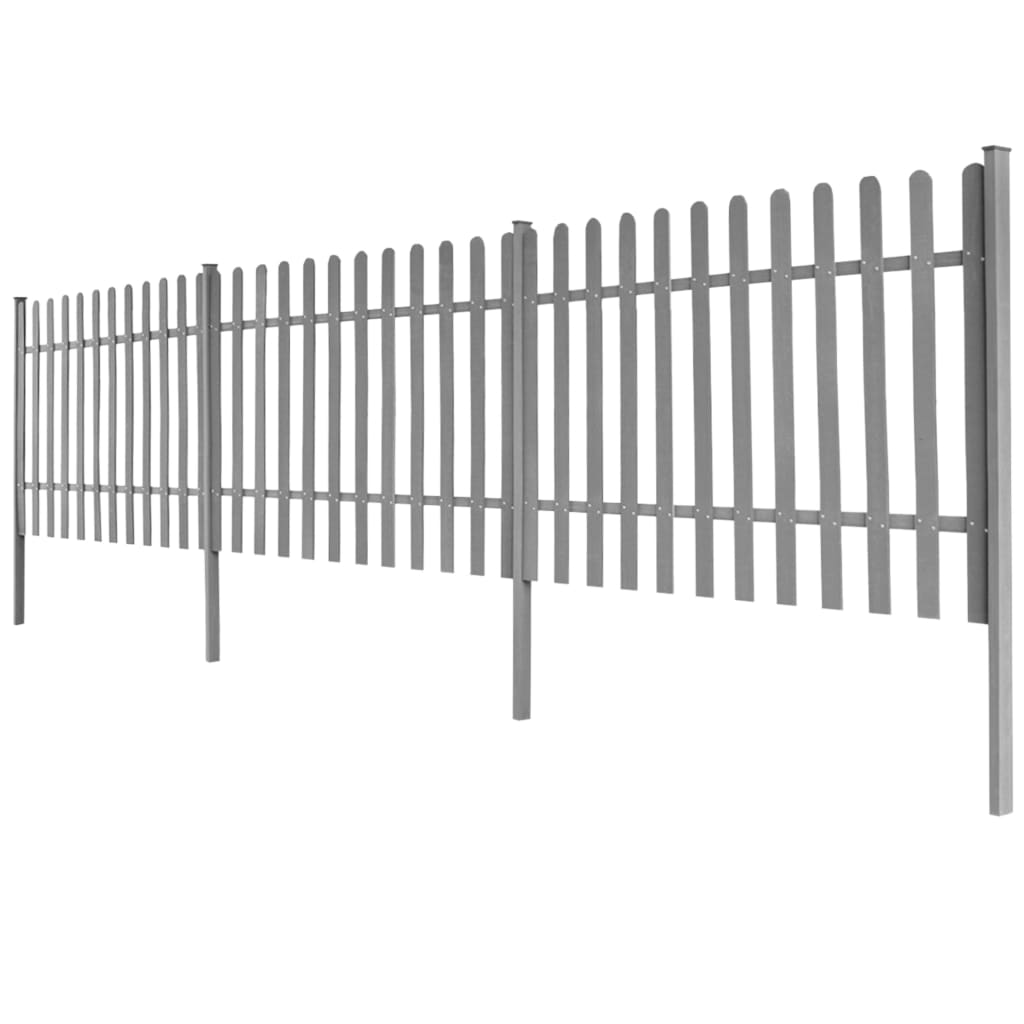 Staket med stolpar 3 st WPC 600x100 cm