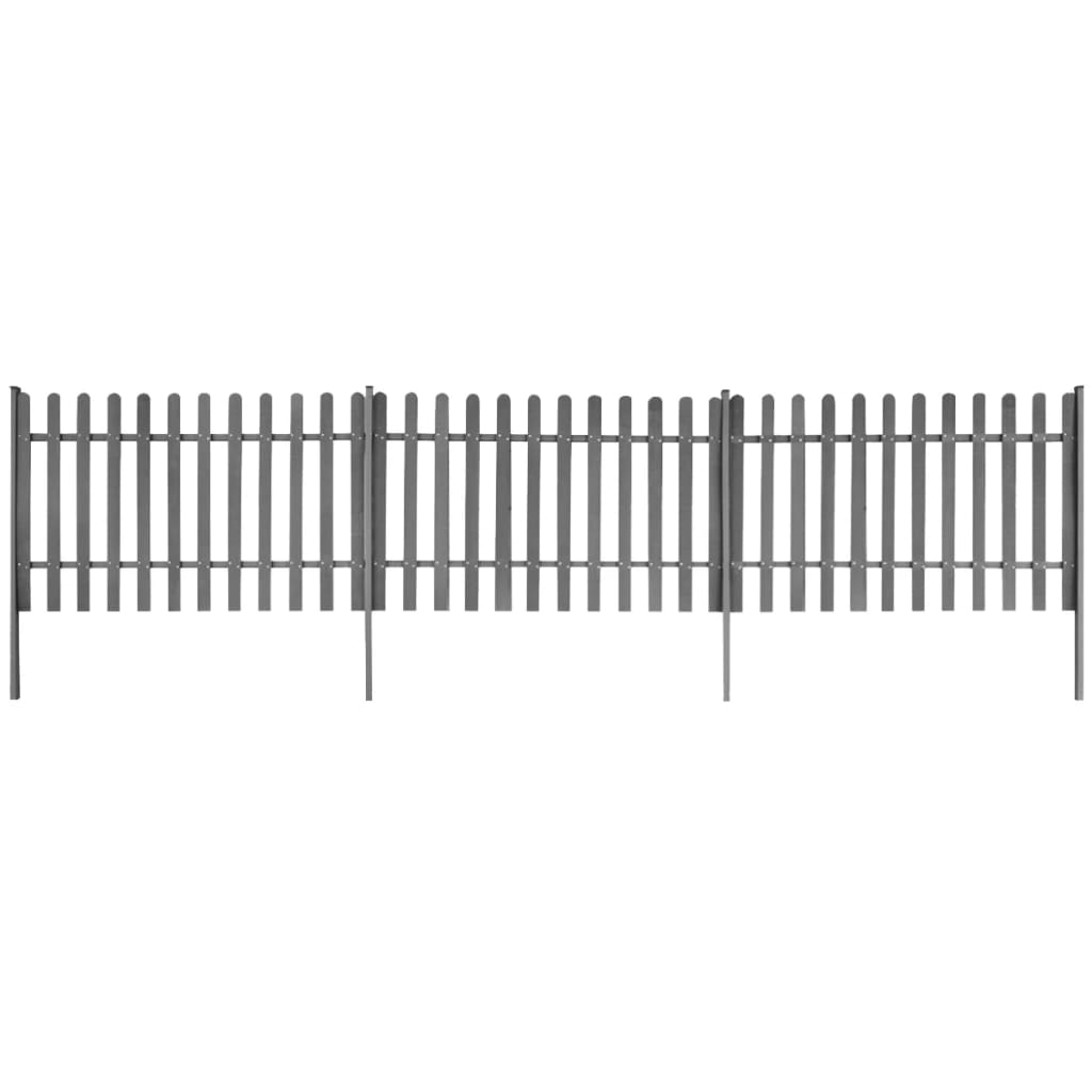 Staket med stolpar 3 st WPC 600x120 cm