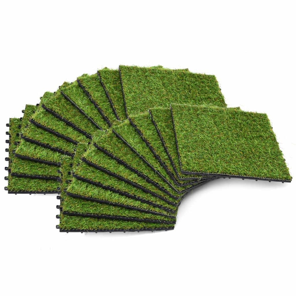 Konstgräsplattor 20 st 30x30 cm grön