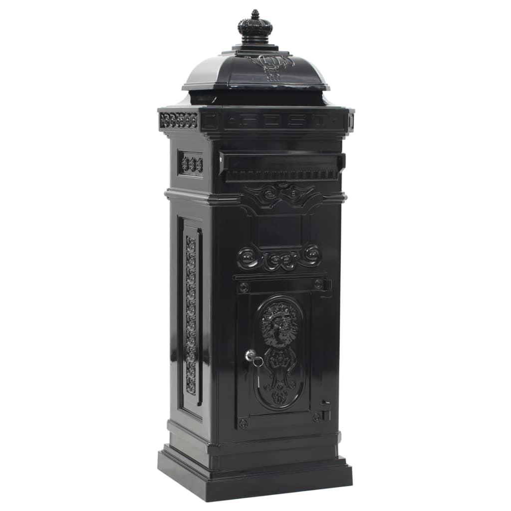 Markpostlåda vintage stil rostfri aluminium svart