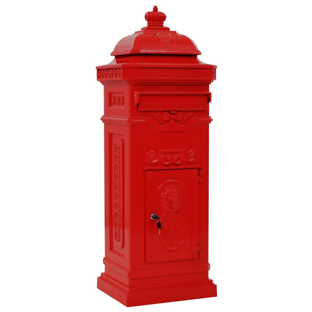 Markpostlåda vintage stil rostfri aluminium röd