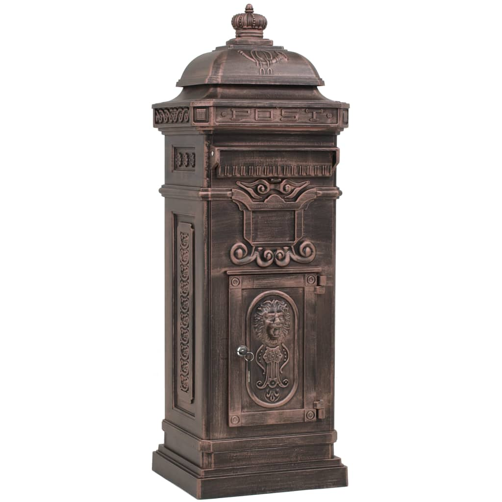 Markpostlåda vintage stil rostfri aluminium brons