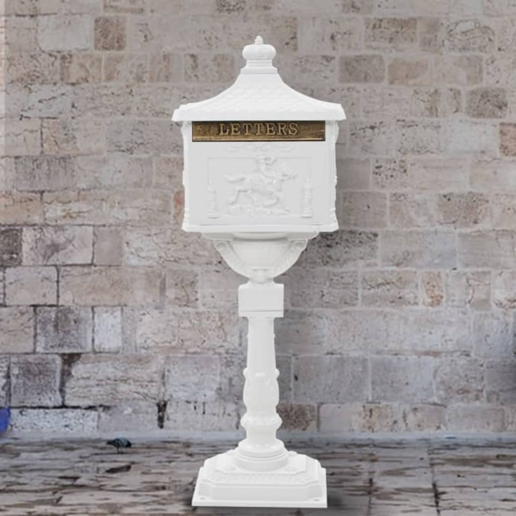 Postlåda på stolpe vintage stil rostfri aluminium vit