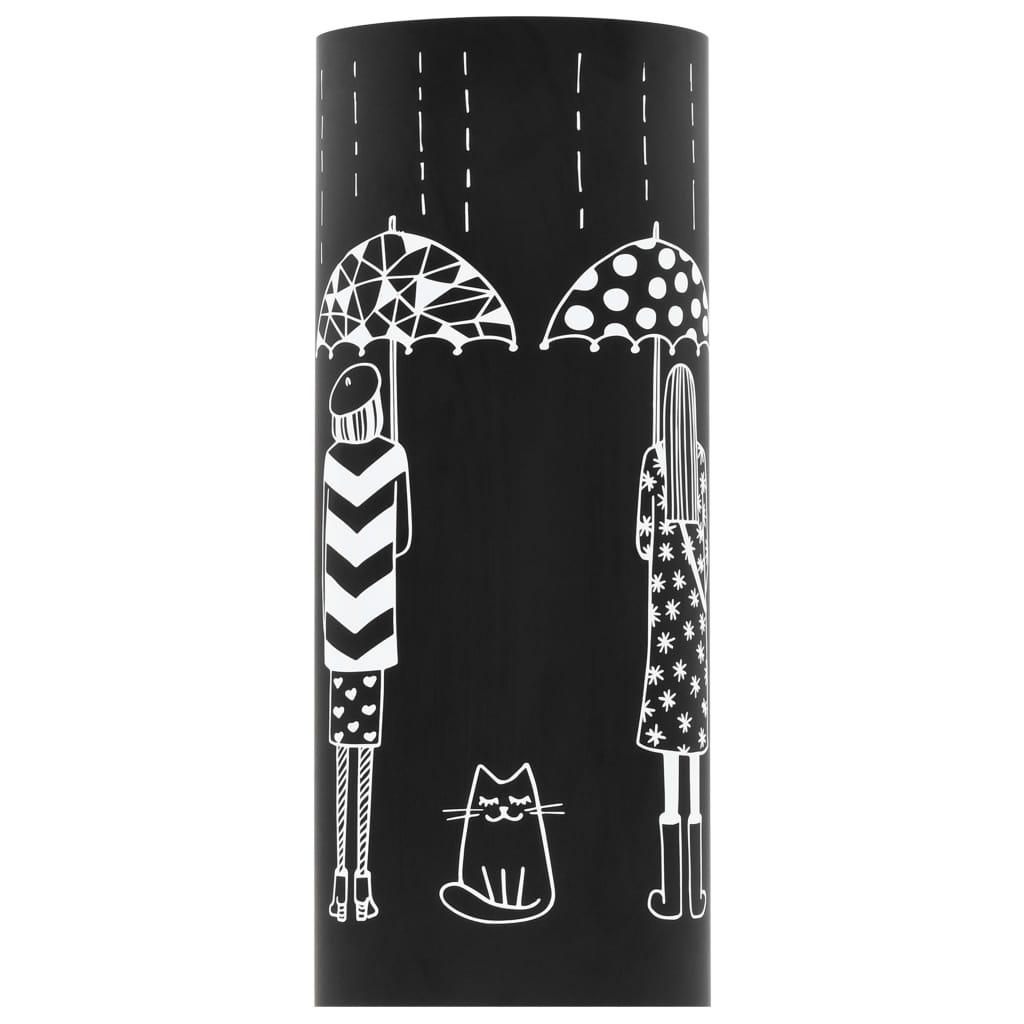 Paraplyställ kvinnor stål svart