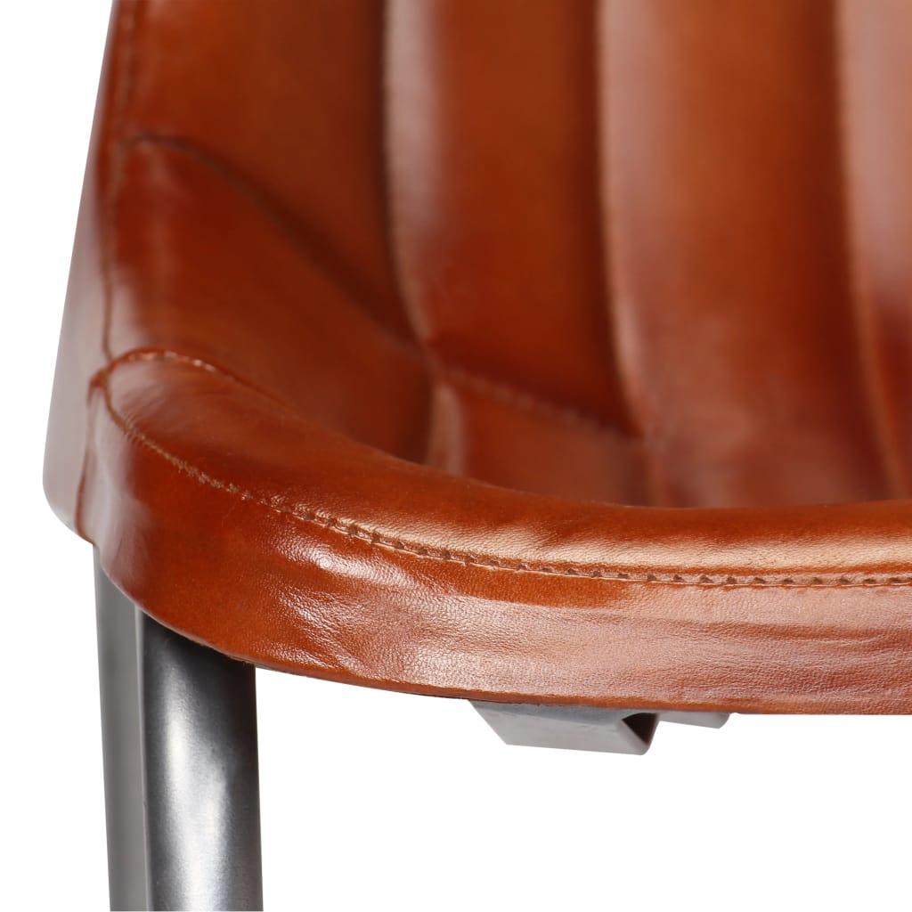 Matstolar 6 st brun äkta läder